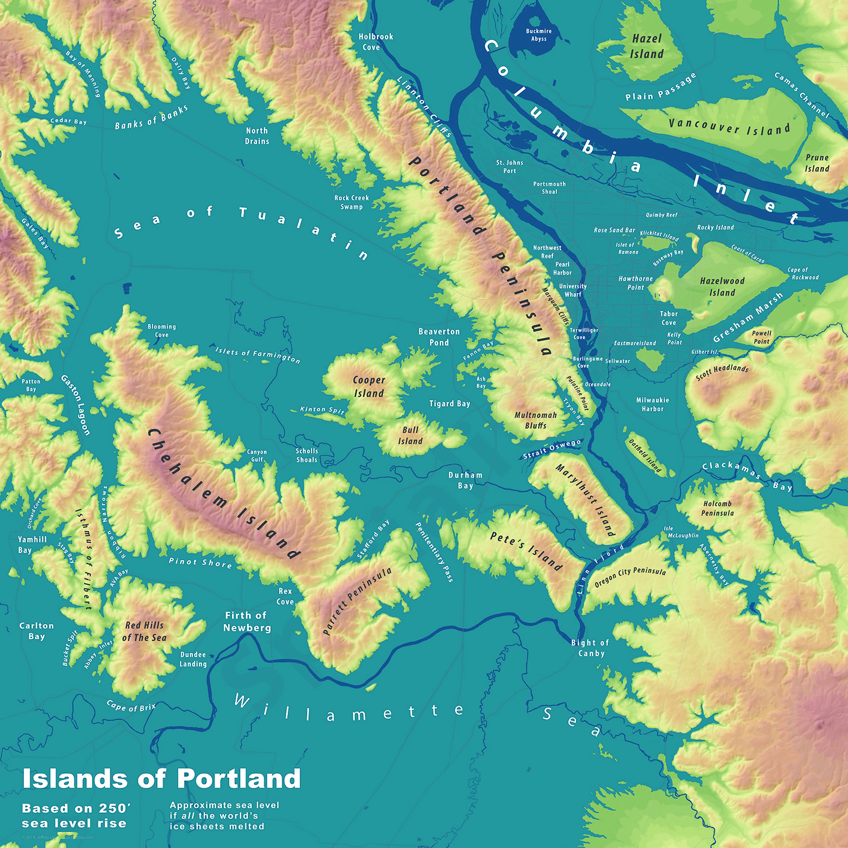 Pamplin Media Group A Sneak Peek At The Islands Of Portland - Global warming sea level rise map